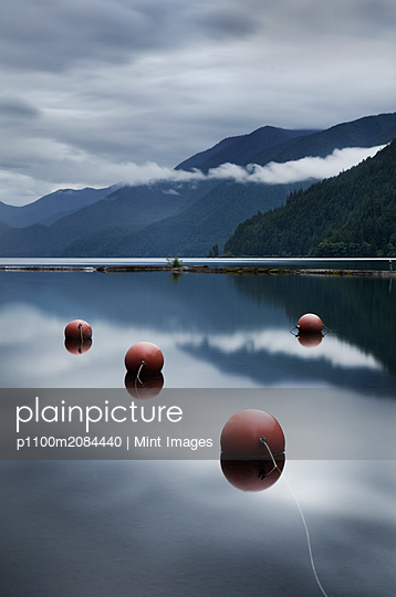 Buoys floating in still remote lake,Olympic National Park, Washington, USA - p1100m2084440 by Mint Images