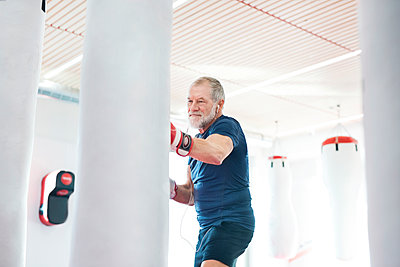 Fit senior man in boxing gloves fighting - p300m1450070 by HalfPoint