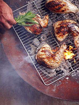 Mans hand grilling Guam chicken legs on barbecue - p429m1012237 by BRETT STEVENS