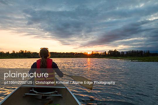 Canoeing on Burnaby Lake, British Columbia. - p1166m2202125 by Christopher Kimmel / Alpine Edge Photography