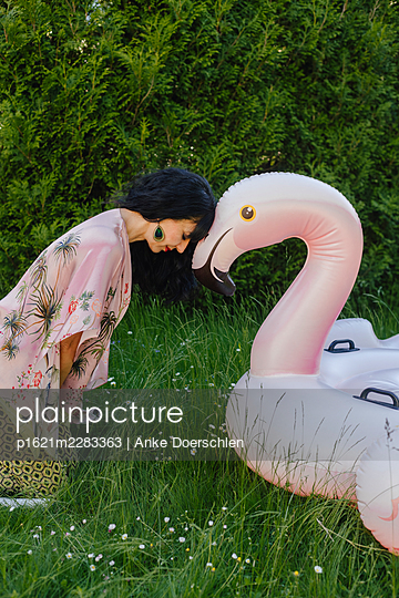 Head to head with a flamingo - p1621m2283363 by Anke Doerschlen