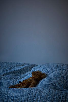 Teddy on bedspread - p1312m2175168 by Axel Killian