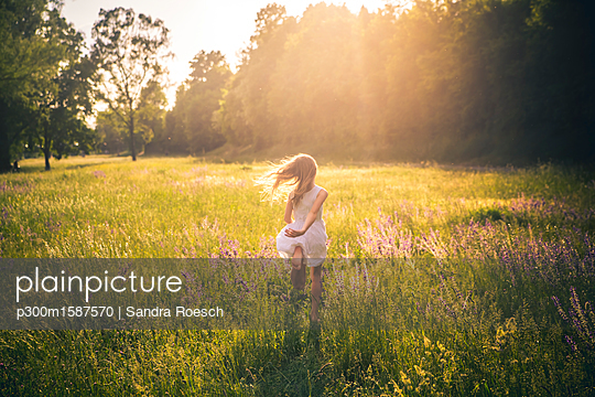 Back view of girl running on flower meadow at evening twilight - p300m1587570 von Sandra Roesch