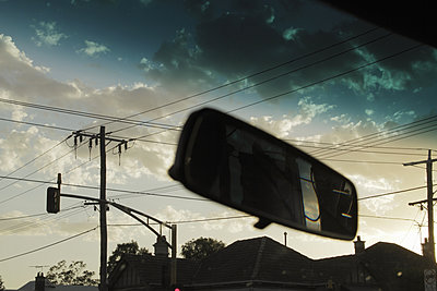 Power lines viewed from car - p429m1450435 by Elke Meitzel
