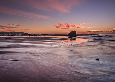 Vivid dawn cloud formation and wet sand, Sandy Bay, Orcombe Point, Exmouth, Devon, England, United Kingdom - p871m2113857 by Baxter Bradford