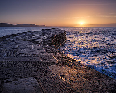 The harbour wall known as The Cobb enjoys a great deal of popularity and looks especially good in the light of dawn, Lyme Regis, Dorset, England, United Kingdom - p871m2114044 by Baxter Bradford
