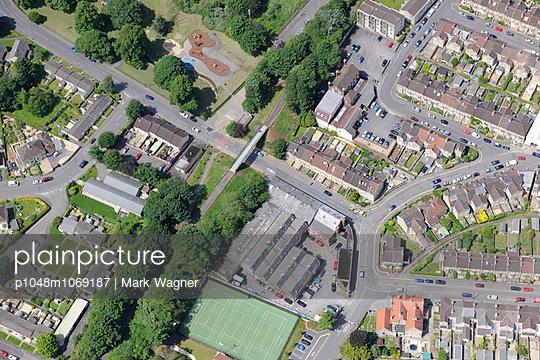 City Suburb aerial view - p1048m1069187 by Mark Wagner