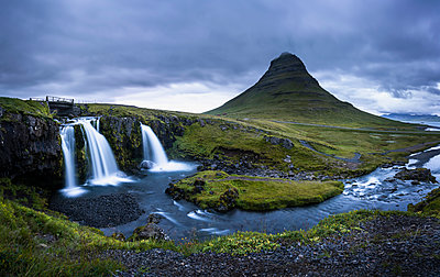 Kirkjufell (Church Mountain) and waterfall near Grundarfjordur, Snaefellsnes peninsula, Western Region (Vesturland), Iceland, Polar Regions - p871m2075470 by Stephen Tomlinson