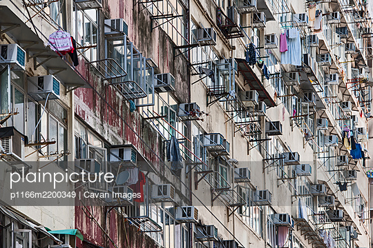 detail of residential buildings in Hong Kong - p1166m2200349 by Cavan Images