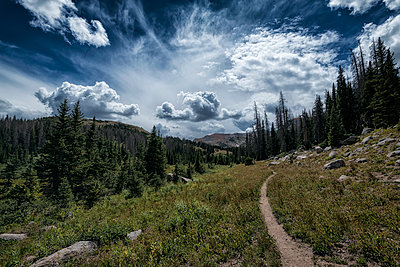 Clouds over trail in rocky landscape - p555m1301702 by Patrick Lienin