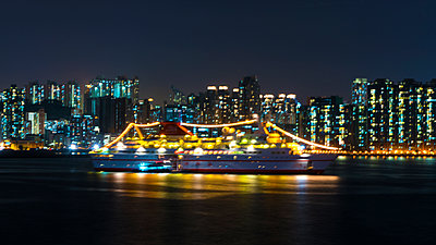 Pleasure Boat at Night - p1154m2022629 by Tom Hogan