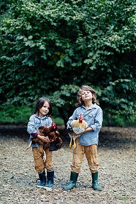 Two kids holding chickens on an organic farm - p300m2144420 von Sofie Delauw
