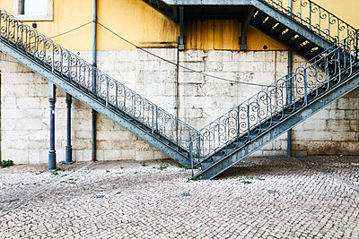 Scrolled stairs in Lisbon - p851m2110793 by Lohfink