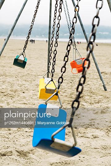 Swings on the Beach - p1262m1440891 by Maryanne Gobble