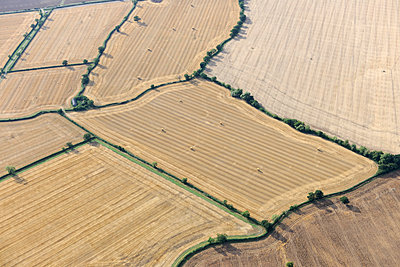 Stubble fields aerial view - p1048m1069287 by Mark Wagner