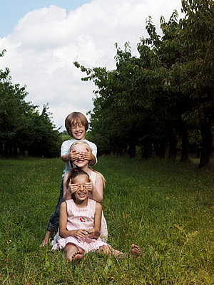 Three children playing in a field - p3017194f by Paul Hudson