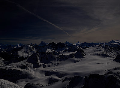 The Alps, snow-capped mountain range, night shot - p803m2283899 by Thomas Balzer