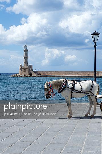 Kutschpferd am Pier von Chania - p1242m2027816 von teijo kurkinen