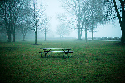 Picnic table in fog - p3721756 by James Godman