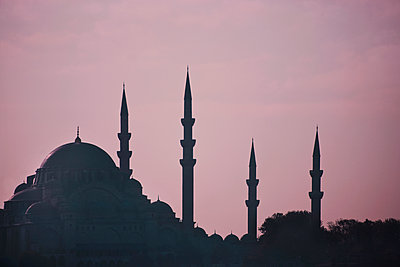 Silhouette of mosque - p312m1076050f by Bruno Ehrs