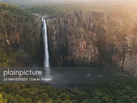 Aerial view of Wallaman Falls in Girringun National Park, Queensland, Australia. - p1166m2200227 by Cavan Images