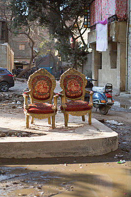 Two armchairs on the roadside - p1325m1333056 by Antje Solveig
