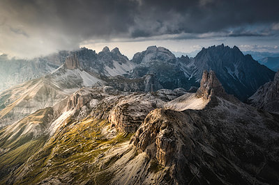 Aerial view of Scarpieri Tower and  Sesto Dolomites. Bolzano province, South Tyrol, Italy - p651m2271110 by Stefano Termanini