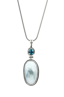 Silver pendant with blue mabe pearl and blue topaz - p300m926502f by Jasmin Awad