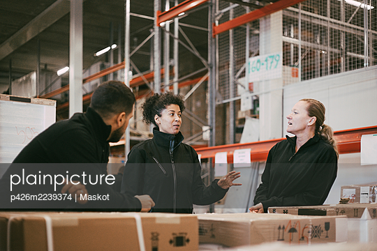 Businesswoman discussing with male and female colleagues in warehouse - p426m2239374 by Maskot
