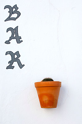 Gaucin, Andalucia, Spain. Sign for a Bar with cactus in terracota pot hanging on white wall in the street. - p652m1505103 by John Warburton-Lee