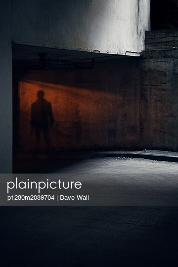 Shadow of man in tunnel - p1280m2089704 by Dave Wall
