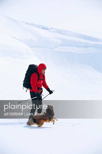 Person telemark skiing with dog