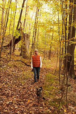 Woman walking dog in woods - p924m2091283 by heshphoto