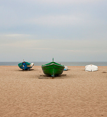 Boats on the beach in Barcelona - p1072m829081 by Joan Seculi