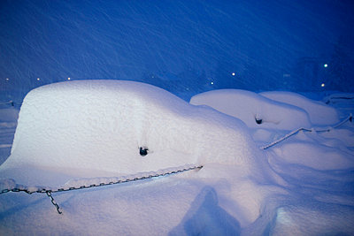Cars covered with snow in a parking place Chamonix France - p31222592f by Henrik Trygg