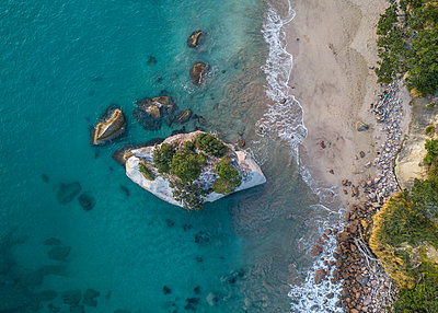 Cathedral Cove from above in New Zealand - p1166m2123858 by Cavan Images