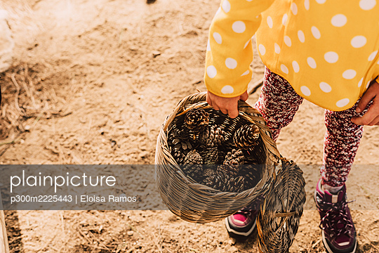 Girl collecting pine cones in wicker basket at park - p300m2225443 by Eloisa Ramos