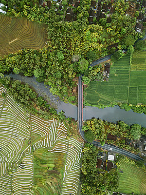 Car bridge and fields, aerial view - p1108m2141996 by trubavin