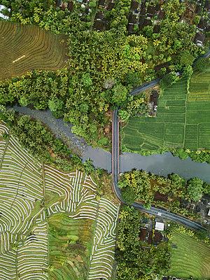 Autobrücke und Felder, Luftaufnahme - p1108m2141996 von trubavin