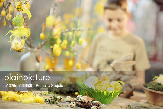 Easter Decoration, Boy In Background, Osijek, Croatia, Europe