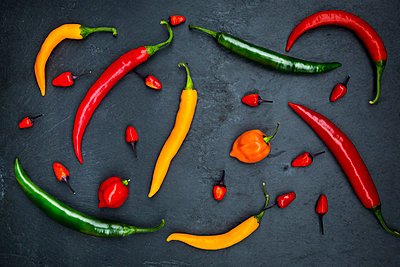 Different chili peppers on slate - p300m1069028f by Larissa Veronesi