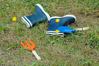 Gardening tools on the lawn - p6810076 by Sandrine Léon