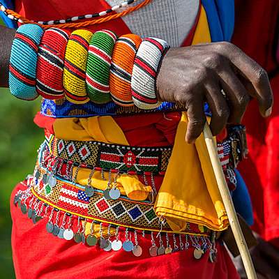 Kenya, Samburu County, Bawa. A Samburu schoolboy from Ler Primary School dressed in typical tribal finery while competing in a schools cultural display. - p651m1005735 by Nigel Pavitt