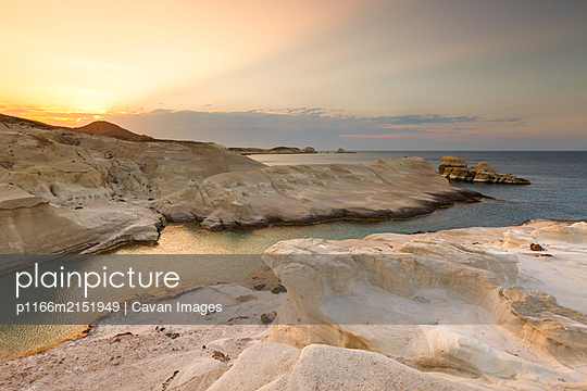 Volcanic rock formations on Sarakiniko beach on Milos island, Greece. - p1166m2151949 by Cavan Images