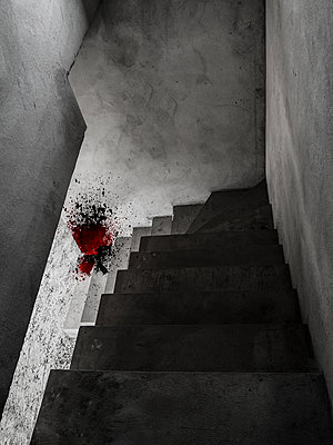 Concrete steps and blood spatters - p1280m2089689 by Dave Wall