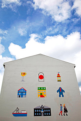 Painted house wall - p382m1497015 by Anna Matzen