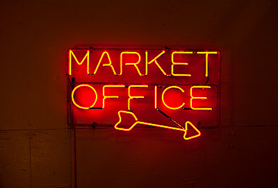 Neon Sign, Pike Place Market, Seattle, Washington - p1100m2090843 by Mint Images