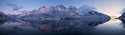 Skjelfjord scenery with mountains on coastline in winter at sunset - p343m1446644 by Cody Duncan