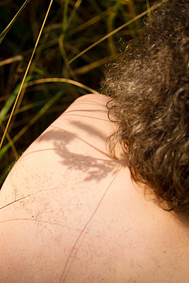 Faded grass touching skin - p417m716166 by Pat Meise