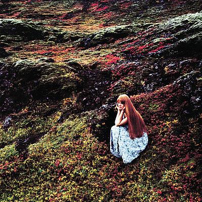 Woman with long hair wearing a dress - p3487380 by Bragi Thor Josefsson